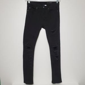 H&M Divided size 30 Black distressed skinny jeans